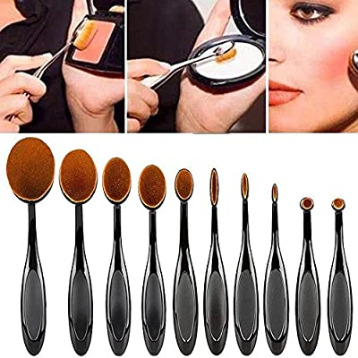Kfnire 10pcs Mini Toothbrush Shaped Foundation Power Makeup Oval Cream Puff Brushes Set