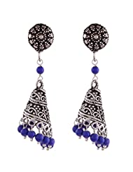 Ganapathy Gems Oxodised Silver Spiral Jhumki With Lapis Blue Drops With Stud