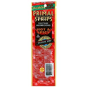 Primal Strips Vegan Meat Alternative Jerky Hot Spicy Mushroom Flavor 1-ounce Pouch Pack Of 24 by Primal Spirit