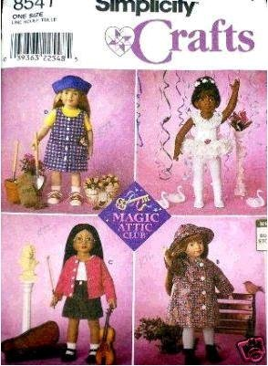 Simplicity Craft 8541 - Doll Clothes for 18-Inch OR Magic Attic Club Dolls