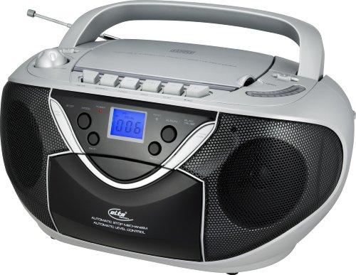 Elta 6727 Stereo Radio-Rekorder (MP3-CD-Player, UKW-/MW-Tuner, Kassettendeck, 50 Watt PMPO) schwarz / silber