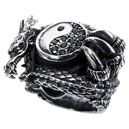 KONOV Vintage Stainless Steel Gothic Dragon Biker Mens Ring, Yin Yang, Tai Chi- Size 7