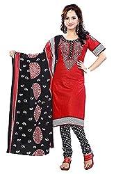 Krisha Womens Cotton Salwar Unstitched Dress Material (Rb-3008 _Red)