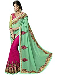 Sareeshop Georgette Saree (Kiwigreen-Sarees_Green & Pink)