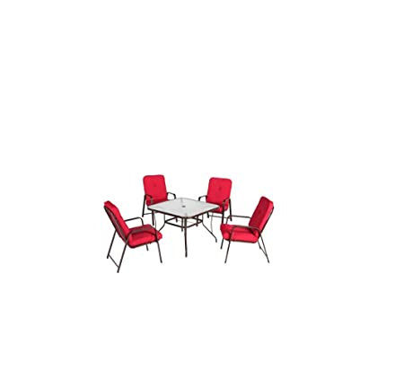 Mainstays Lawson Ridge 5-Piece Patio Dining Set, Red, Seats 4