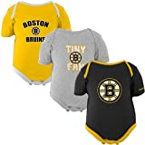 NHL Reebok Boston Bruins Newborn 3-Pack Tiny Fan Creepers - Ash/Black/Gold (0-3 Months) at Amazon.com