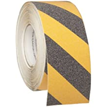 "Brady 60' Length, 3"" Width, B-916 Grit-Coated Polyester Tape, Striped Special Black And Yellow Color Anti-Skid Tape"