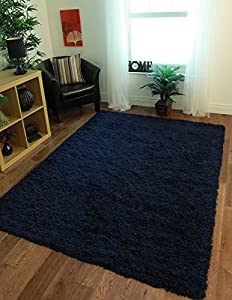 Ontario Navy Blue Soft Touch Easy Clean Shaggy Rugs - Available in 4 Sizes from The Rug House
