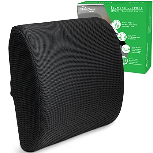 Motion Trend Lumbar Support - Bamboo Charcoal Memory Foam Back Cushion (Black) (Lumbar Support Car compare prices)