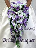 Wedding bouquet bridal package bridesmaid groom boutonniere corsage silk flowers love ANGIE PURPLE