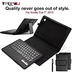 Fire 7 2015 Case with Keyboard, TabPow [PU Leather Keyboard Case] Black Slim Folio Case Cover Stand With Detachable Bluetooth Wireless Keyboard For Amazon Fire 7 Tablet (Only fit Fire 7