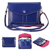 Universal Fashion Soft PU Leather Cell Phone Bag Purse Case Cross Body Wallet Pouch with Shoulder Strap & ID Cards Holders for Carrying iPhone6s/6s plus/6/6 Plus/5s and Samsung Phones(Navy Blue)