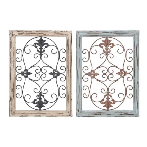 """Deco 79 Wood Metal Wall Panel, 2 Assorted, 16 by 22"""""""