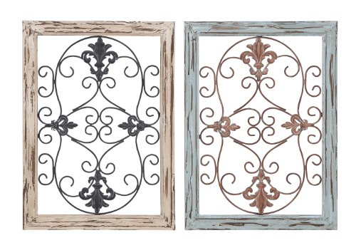 "Deco 79 Wood Metal Wall Panel, 2 Assorted, 16 by 22"" 0"