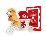 TiedRibbons® valentine's day gifts for Girlfriend Love you forever 2 Teddy with cycle,Keychain and Greeting Card