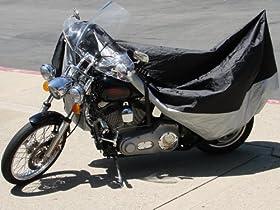 TMSu00ae Xlarge Black Waterproof Motorcycle Dust Storage Cover for Honda Kawasaki Suzuki Yamaha Harley Davidson