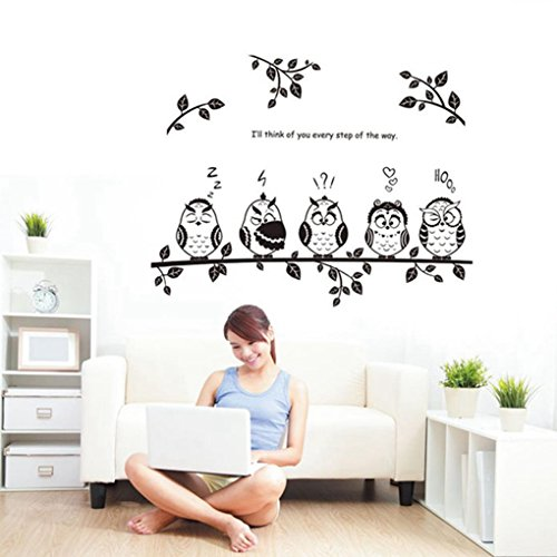 Hatop Owl Cartoon Animals Birds Nursery Wall Art Stickers Decal Home Decor Boys and Girls Children Courtyard Baby Kid's Room (A) (One Direction Number Clock compare prices)