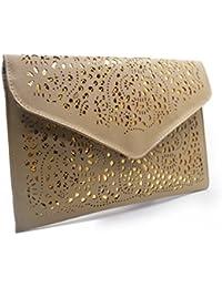 Aisa Womens Faux Leather Envelope Clutch Handbag Retro Hollow Purse Crossbody Bag