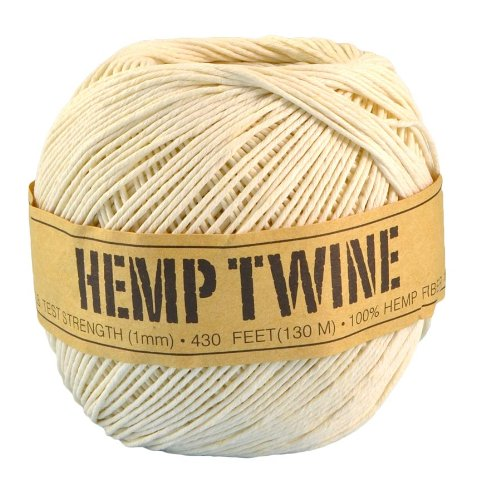 White Hemp Twine - 20 LB. Test - 1mm - 430 Feet - 100g - 100% Hemp Fibers