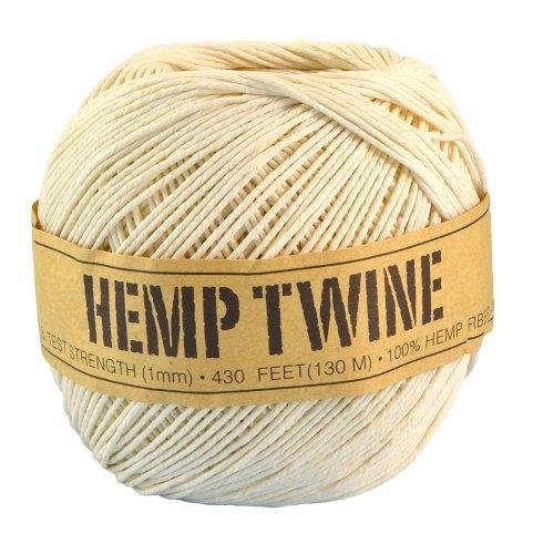 White Hemp Twine - 20 LB. Test - 1mm - 430 Feet - 100g - 100% Hemp Fibers