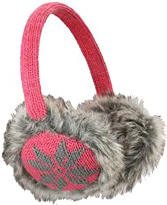 Nirvanna Designs EA02 Snowflake Earmuffs with Faux Fur, Honeysuckle Pink