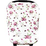 """Baby Car Seat Cover Canopy And Nursing Cover Multi-Use Stretchy 3 In 1 Gift """"Violet"""" By Copper Pearl"""