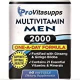 The Multivitamin Men Find the Best for Sport Nutrition - Fortified with Ginkgo Biloba, Ginseng Herbal Supplements for Maximum Energy - 60 One-A-Day Softgel Vitamins and Dietary Supplements [2 Month Supply In Each Bottle] - with a 30 Day 100% SATISFACTION MONEY BACK GUARANTEE!