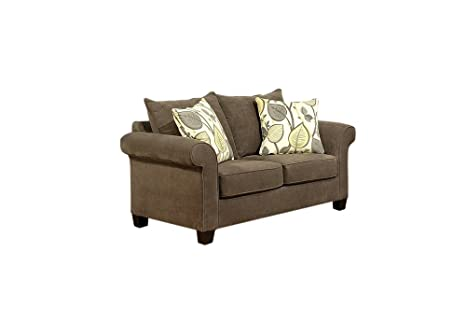 Furniture of America Moriane Chenille Upholstered Love Seat, Java