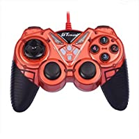 Dual Shock Wired USB Gamepad Controller For PC With Gripped Joysticks Ergonomic Design Vibration Force Feedback... - B00S879G7K
