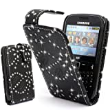 GLITZY GIZMOS BLACK GLITTER PU LEATHER CASE COVER POUCH FOR SAMSUNG CHAT CH@T335 / S3350