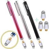 aibow ペン先交換式 スタイラスペン abw-p20 3本+交換ペン先3個セット (レッド+ブラック+シルバー)