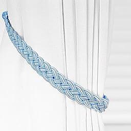 Ayygift1 Pair Vintage Knitted Curtain Rope Buckle Decorative Tiebacks (blue)