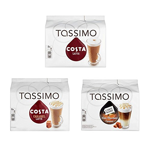Tassimo 3 Latte Bundle Costa Latte Original + Caramel + Latte Macchiato Caramel by Carte Noire
