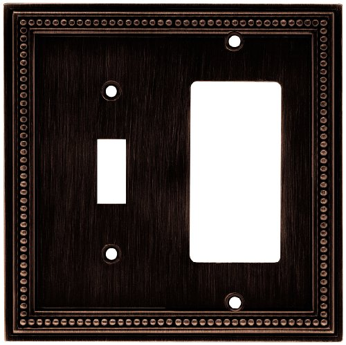 Brainerd 64407 Beaded Single Switch/Decorator Wall Plate / Switch Plate / Cover, Venetian Bronze