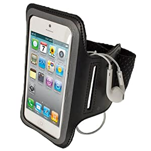iGadgitz Black Reflective Anti-Slip Neoprene Sports Gym Jogging Armband for New Apple iPhone 5 Cell Phone 4G LTE