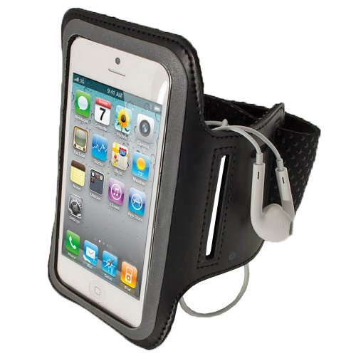 Igadgitz Black Reflective Anti-Slip Neoprene Sports Gym Jogging Armband For New Apple Iphone 5, 5S, 5C Cell Phone 4G Lte