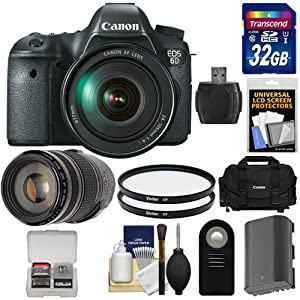 Canon EOS 6D Digital SLR Camera Body with EF 24-105mm L IS USM Lens with EF 70-300mm IS Lens + 32GB Card + Battery + Canon Case + Filters + Remote + Acc Kit