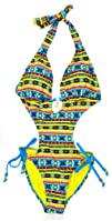 Rocawear Womens Blue   Multicolor Tribal Print 1Pc Swimsuit