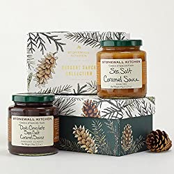 Stonewall Kitchen 2 Piece Holiday 2016 Dessert Collection - 1 Sea Salt Caramel Sauce, 1 Dark Chocolate Sea Salt Caramel Sauce