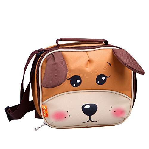 Yodo Kids Mini Insulated Soft Lunch Box Carry Bag for Preshool Toddler's Snack / Daycare with Pouch for Cutlery inside, Easter Basket Gifts, Dog