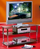 MEUBLE TV VESCO STRUCTURE METAL CHROME VERRE SECURIT NOIR