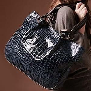 Fashion Stone Pattern and Metal Design Women's Shoulder Bag - BLUE