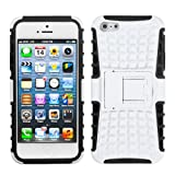 For iPhone 5S / 5 Rubberized White/Black Advanced Armor Stand Protector Cover - LIFETIME WARRANTY