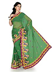 Designersareez Women Chiffon Embroidered Sea Green Saree With Unstitched Blouse(1188)