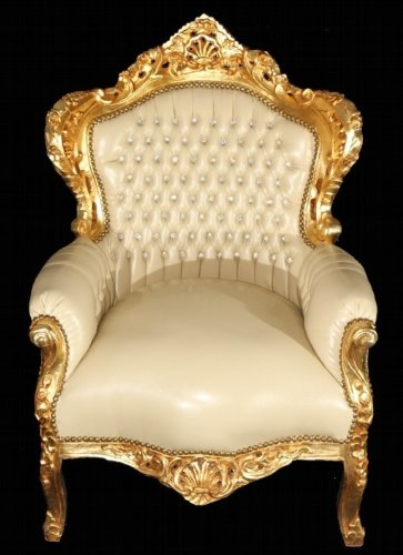 Baroque King chairs cream / gold leather look Bling Bling