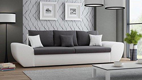 Big Sofa mit Schlaffunktion und Bettkasten in weiß Sitzfläche in anthrazit Rückenecht bezogen mit Wellenfederpolsterung, B/H/T ca. 272/90/96 cm thumbnail