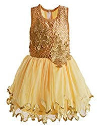 Motley Girls' Dress (5-6-619_Yellow_5-6 Years)