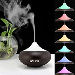 Infiland Ultrasonic Humidifier Air Purifier Aroma Diffuser, Mini Electric Aromatherapy Essential oil Diffuser Whisper-Quiet Cool Mist Humidifier Auto Shut Off--Dark Brown