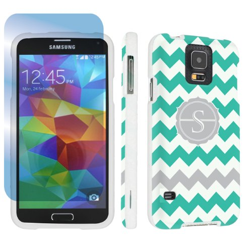 Skinguardz Samsung Galaxy S5 Hard Protection Case + Screen Protector - (Mint Chevron Monogram Initial S White) back-777986