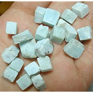 Amazon.com: Two Sky Blue White Larimar Pectolite Gemstones Cabbing ...